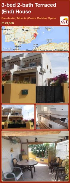 Terraced (End) House for Sale in San Javier, Murcia (Costa Calida), Spain with 3 bedrooms, 2 bathrooms - A Spanish Life Automatic Watering System, Gas Bbq, Murcia, Malaga, Dining Area, Terrace, Costa, Pergola, Spain