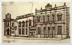 Drawing in ink of Mugica E. representing several buildings of the Historical Center: (from left to right) the building of the Bank of London and Mexico; The National Bank of Mexico; The branch of the stationery Dingler and  the Post Office building. (Dibujo a tinta de Mugica E. que representa varios edificios del Centro Histórico: (de izquierda a derecha) el edificio del Banco de Londres y México; el Banco Nacional de México; la sucursal de la papelería Dingler y el edificio de Correos).