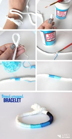 Today I'm sharing a fun and simple ombre DIY bracelet that can be made completely with scraps and fabric Mod Podge. I have a special love for shades of blue, and I really love how the blue ombre bracelet turned out. However, it would also be fun to create more of a color-blocked look with bright colors, or even stripes of just two colors. (P.S. Here is a tutorial for