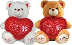 """GIANT VALENTINES LOVE YOU TEDDY BEAR PLUSH 26"""" Sitting - White/Brown - *NEW*"""