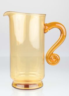 Vintage Glas Krug Kanne Karaffe gelb orange ~ Art Deco H1D