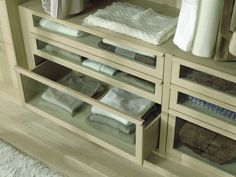 Drawers with glass fronts