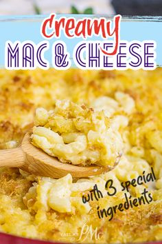 Secret Ingredient Creamy Mac and Cheese recipe is the ultimate, cheesy pasta dinner. This comfort food recipe is perfect for a family meal, cozy date night, or special occasion. Mac Cheese Recipes, Yummy Pasta Recipes, Easy Dinner Recipes, Yummy Food, Savoury Recipes, Lunch Recipes, Dinner Ideas, Best Macaroni And Cheese, Creamy Mac And Cheese