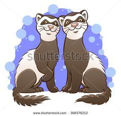 Cute cartoon ferrets - stock vector