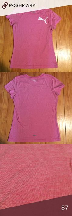 Puma pink t-shirt Super cute, soft, and comfy! Says medium and I find it to fit more like a small. Puma Tops Tees - Short Sleeve