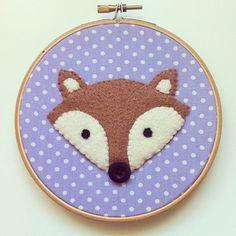 Polka dot Felt fox embroidery hoop wall art - hand sewn onto upcycled fabric by ThePigeonsNestUK on Etsy