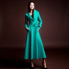 Fashion blue and green slim long coat, Love this! The style and the color :)