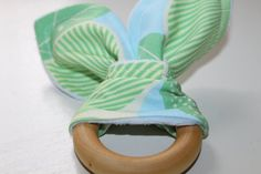 FREE SHIPPING/ Organic Maple Wood Bunny Ear Teething Ring/ Fabric/ Minky/ Sensory/ EASTER/ Boy/ Girl/ Baby/ Gift on Etsy, $11.00