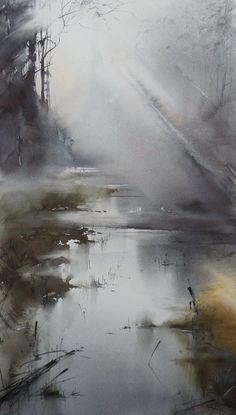 Ilya Ibryaev - Forest River - watercolor (53х37) cm