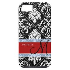 Personalized Black and White Damask with Mongram iPhone 5 Covers (Similar to our Heartstrings options in The Silver Box)
