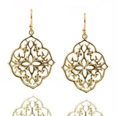 Gold Flower Filigree Earrings    #jewelry #earrings