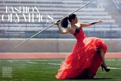 """Fashion Olympics"" Lucy Liu in Olympic Fashion by Peter Lindbergh, US Harper's Bazaar"