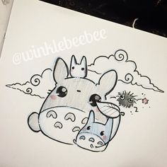 Totoroo ♡•♡ Kawaii Drawings, Doodle Drawings, Cartoon Drawings, Animal Drawings, Cute Drawings, Doodle Art, Pretty Art, Cute Art, Totoro Drawing
