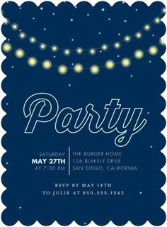 Glowing Night - Party Invitations in Stormy Blue or Aqua | Tallu-lah