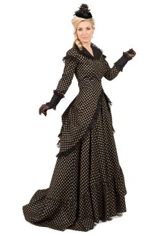 Marcella Victorian Polonaise Dress By Recollections Vintage Inspired Dresses, Vintage Gowns, Dress Skirt, Dress Up, Dot Dress, Modest Wedding Dresses With Sleeves, Bustle Dress, Victorian Costume, Period Outfit