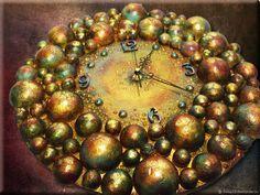 """Купить Часы настенные """"Кипящее золото"""" в интернет магазине на Ярмарке Мастеров"""