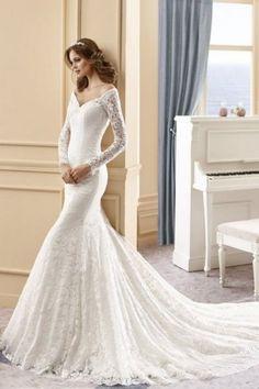 Maria Elena -abito da sposa elegante in pizzo, modello a sirena, scollo omerale, maniche lunghe
