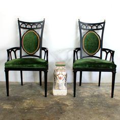Vintage Hollywood Regency Green Velvet Arm Chairs, Pair