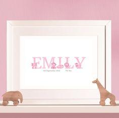 Personalised Baby Print - Animal Letters Full Name Girls
