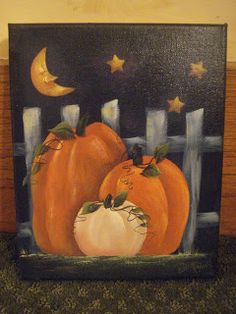 Still cramming for the open house. Every year, I think I will start earlier. Yeah, right! Found this cute idea. Pumpkin Canvas Painting, Simple Canvas Paintings, Autumn Painting, Autumn Art, Tole Painting, Diy Painting, Fall Halloween, Halloween Crafts, Acorn Drawing