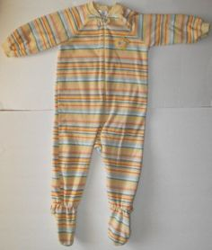 The Children's Place Unisex 18 Months One Piece Footie Sleeper Pj Stripes~ so soft and comfy blanket sleeper with yellow, orange,green, and white stripes and an adorable star on the chest!    #teamsellit
