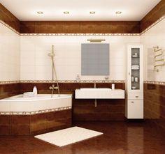 Elegance Pretty Bathroom Set Design With Brown Tile Floor And Triangle Bathtub Corner As Well Rug On Floor Also Floating Sink Beside High Cabinet Pretty Bathroom Sets with Wonderful Variant Colorsfor Your Bathroom Home design
