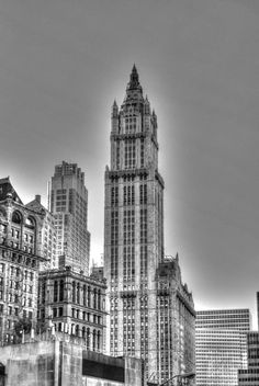 The iconic Woolworth building in black and white, lower Manhattan, NYC