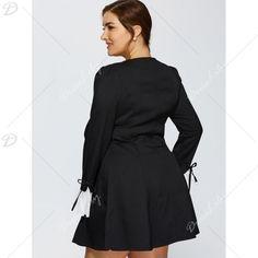 Autumn Bowknot Chiffon Cuff Insert Long Sleeve Dress, BLACK, XL in Dresses | DressLily.com
