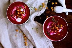 beetroot soup with apple horseradish and roasted chickpeas
