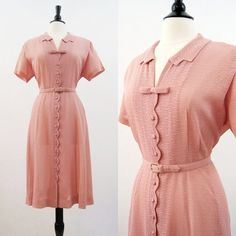 50s Dress Vintage Pink Sheer Lace Net Shirtwaist @ voguevintage