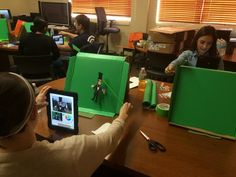 Mini Characters, painted own green screen boxes.