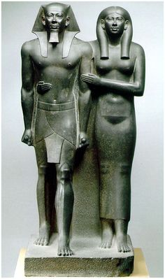 Menkaure and Queen Khamerernebty, 2490-2472BCE, more important= more rigorous conventions, affectionate woman, Pharoah more important than wife