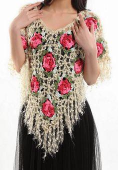 Crochet Shawls: Crochet Poncho using Beautiful Yarn - Flower Square Motif. IDEA: Could make a mesh shawl and add crocheted flowers to it as I make them. Crochet Flower Squares, Crochet Lace Edging, Crochet Shawls And Wraps, Crochet Jacket, Crochet Cardigan, Knitted Shawls, Crochet Scarves, Crochet Clothes, Crochet Flowers