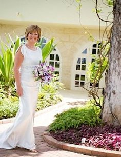 As these real brides show, you can still wear a white wedding dress AND look fabulous if you're a mature bride. Older Bride Dresses, Mature Wedding Dresses, Wedding Dresses Photos, Gorgeous Wedding Dress, Boho Wedding Dress, Wedding Gowns, 2nd Marriage Wedding Dress, Wedding Ceremony, Champagne Lace Dresses