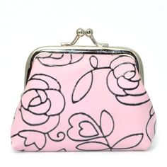 GSPStyle Women's Cotton Coins Mini Pouch Buckle Rose Color Pink * Click here for more details @