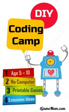 DIY coding camp for beginners at home for kids age 5 to teach girls and boys programming skills with 5 printable games + extension coding activity ideas STEM summer camp tech camp homeschool ICT Stem For Kids, Science For Kids, Life Science, Learning Activities, Activities For Kids, Activity Ideas, Steam Activities, Camping Activities, Camping Crafts