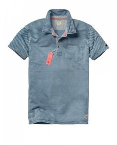 Indigo short-sleeved polo - Polo's - Official Scotch & Soda Online Fashion &  Apparel
