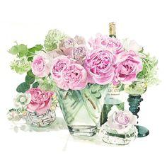 Ayako Tsuge, 柘植彩子 水彩画 薔薇とワインと