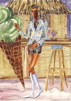 Bottega Veneta, Dolce & Gabbana, Moncler Gamme Bleu & Vivienne Westwood S/S 2013 by jiiakuann  Illustration.Files: Peacock