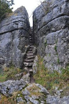 The Fairy Steps, Arnside, Cumbria, UK. Legend has it that if you can walk up the Fairy Steps without touching the sides any wish will come true. Only for stick thin people!