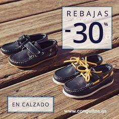 ¡¡Continúan las REBAJAS!! Entra en la sección de calzado y descubre náuticos de piel para niños desde 31,90€. Fabricados 100% en España. Grandes oportunidades en www.conguitos.es