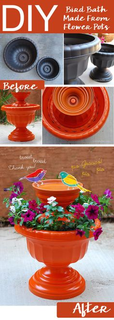 "What a great idea! Use those flower pots in an unconventional way for an even more enjoyable and beautiful outdoor decor.  <a href=""http://thethriftycouple.com/2015/07/24/diy-bird-bath-made-from-flower-pots/"" target=""_blank"">Click to see full details...</a>"