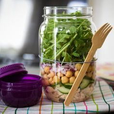 Layers of albacore tuna, chickpeas and baby arugula create a simple, satisfying lunch in a Mason Jar.