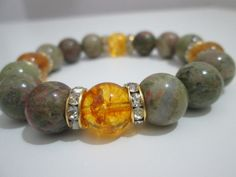 Unaquita and citrine gemstone bracelet women by Lenajoyas on Etsy