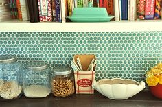 penny tile backsplash - turquoise