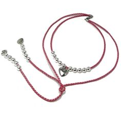 Pink Leather & Silver Necklace