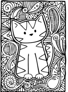 Cute Cat Coloring Page Cute Cat Coloring Page. Cute Cat Coloring Page. Cute Coloring Pages Cats in cat coloring page Master pieces Coloring pages for adults coloring leonard Cat Coloring Page, Animal Coloring Pages, Coloring Book Pages, Printable Coloring Pages, Coloring Sheets, Coloring Pages For Kids, Doodle Coloring, Kids Coloring, Mandala Coloring