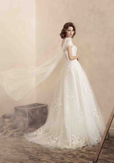 """Ball gown wedding dress in fine tulle and taffeta, from Papilio """"Road to Hollywood"""" Bridal Collection - www.papilioboutique.ca"""