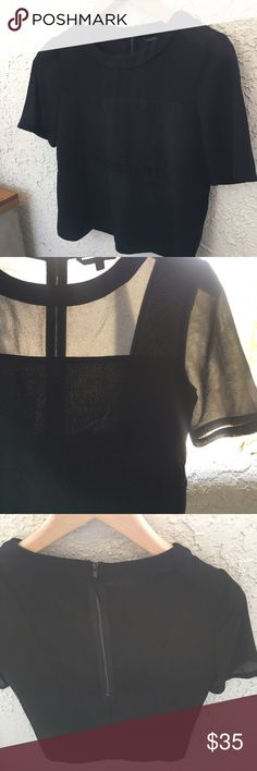 """W118 Walter Baker Modern Boxy Top, Size XS W118 Walter Baker  Modern Boxy Top Sheer/Panels Size XS Excellent Condition 20.5"""" length 18"""" bust  💜 Reasonable Offers Welcomed 💜 Excellent Condition 💜 No Filters Used 💜Sorry, No Trades  ✨As always thank you for shopping✨  Happy Poshing!  💜 Jenn Mix W118 by Walter Baker Tops Blouses"""