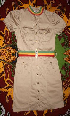 Reggae Sista Sizzlin Khaki Military style dress by Ilive2loveJAH, $40.00